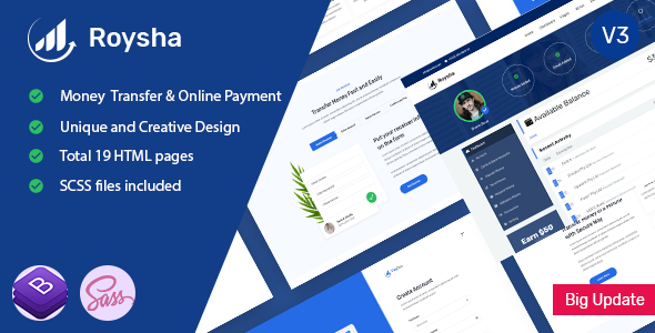 Roysha - Money Transfer and Online Payments HTML Template