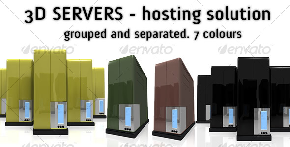 3D Servers. 7 colors - Technology 3D Renders