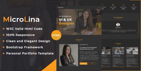 MicroLina - Responsive One Page Portfolio Template