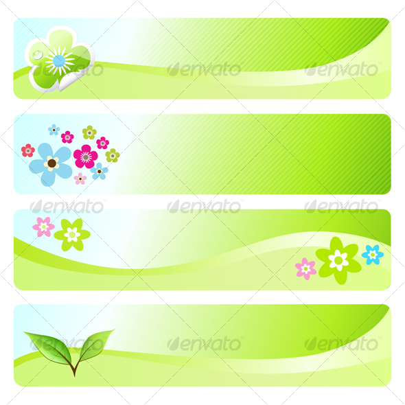 Four spring banners - Characters Vectors