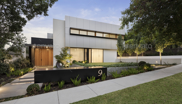 Modern House Exterior - Stock Photo - Images