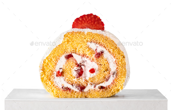 Strawberry roll cake - Stock Photo - Images