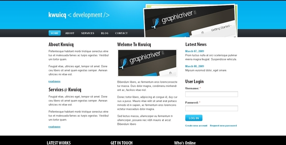 Kwuicq Drupal 6 Corporate Blue Theme - Drupal CMS Themes