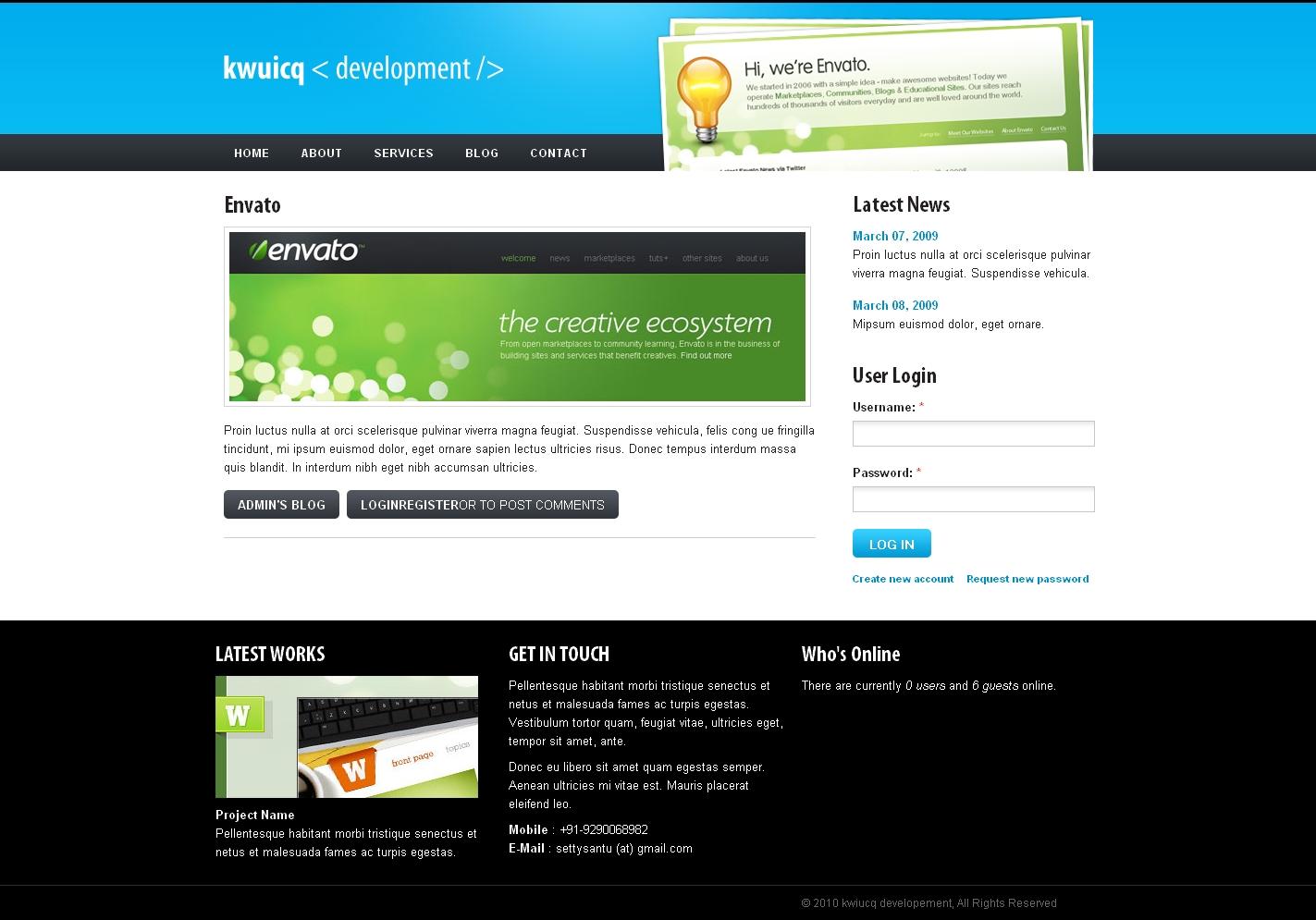 Kwuicq Drupal 6 Corporate Blue Theme by settysantu