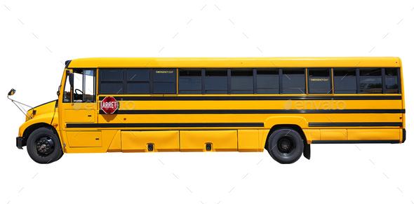 Big yellow shool bus - Stock Photo - Images