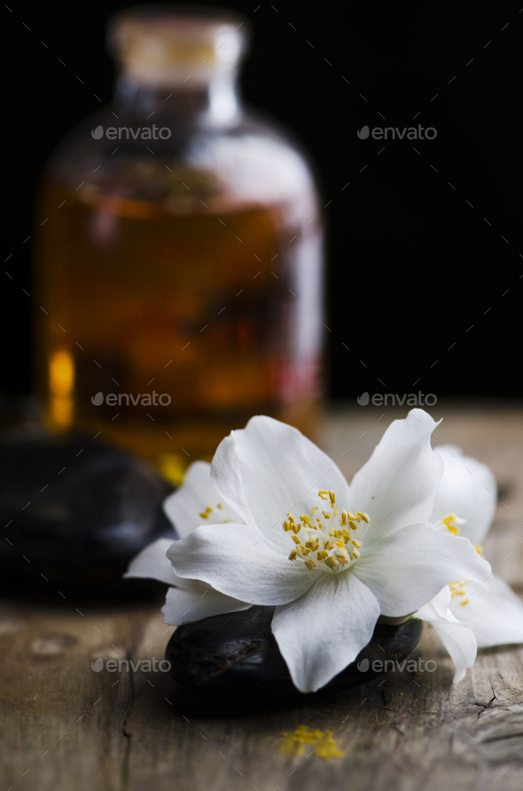 Essential oil and spa stones - Stock Photo - Images