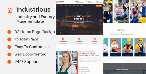 Industrious- Industry And Factory Muse Template