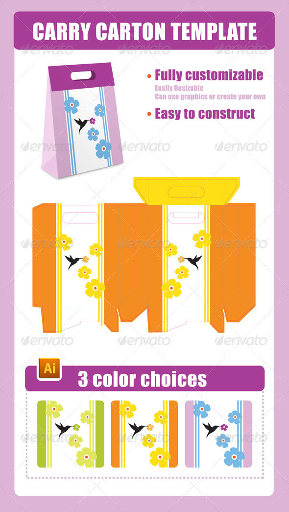 Carry Carton Template - Packaging Print Templates