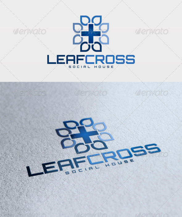 Leaf Cross Logo - Vector Abstract