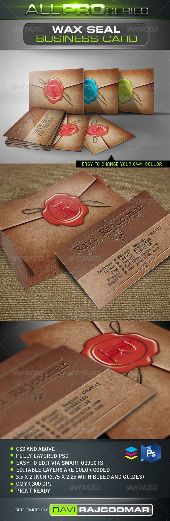 Wax Seal Business Card - Creative Business Cards