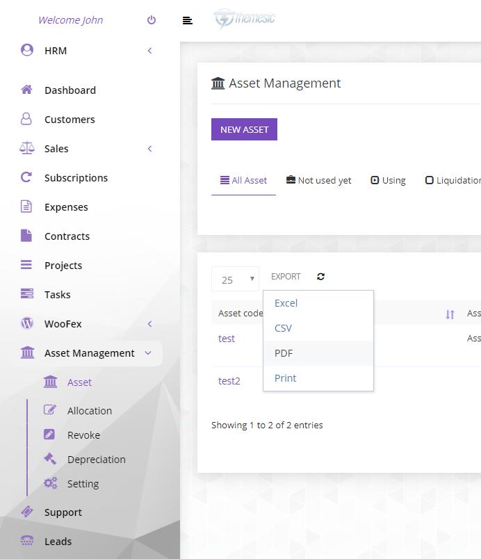 Assets Management module for Perfex CRM Download