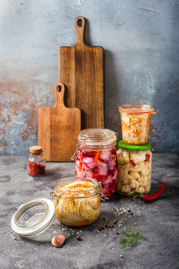 Fermented Cabbage, Fermented Vegetables in Jars, Kimchi, Fermentation Concept - Stock Photo - Images