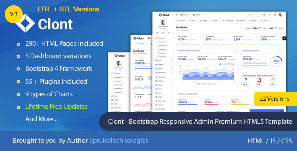 Clont – Bootstrap Webapp Responsive Dashboard Simple Admin Panel Premium HTML5 Template