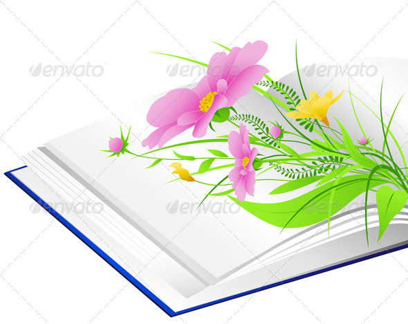 Open Book with Flowers and Green Grass - Flowers & Plants Nature