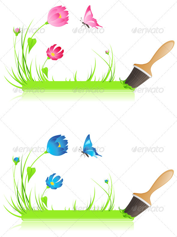 Green Banner with Paintbrush and Flowers - Flowers & Plants Nature