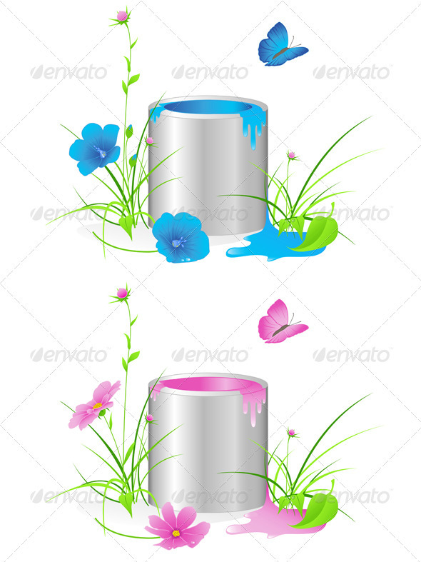 Tin with a Paint and Flowers - Flowers & Plants Nature