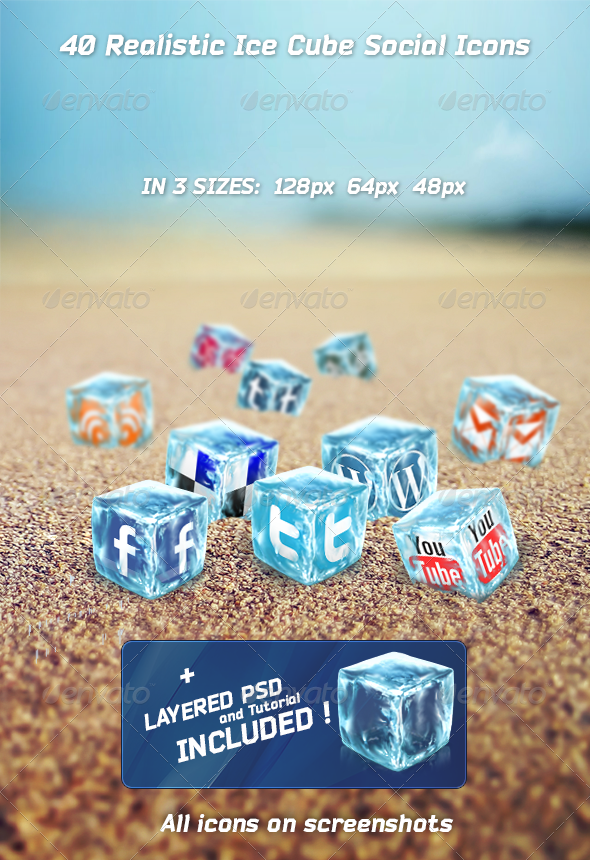 40 Realistic Ice Cube Social Icons - Web Icons