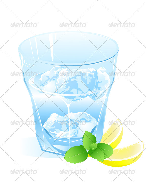 Glass with Water, Lemon and Ice - Food Objects