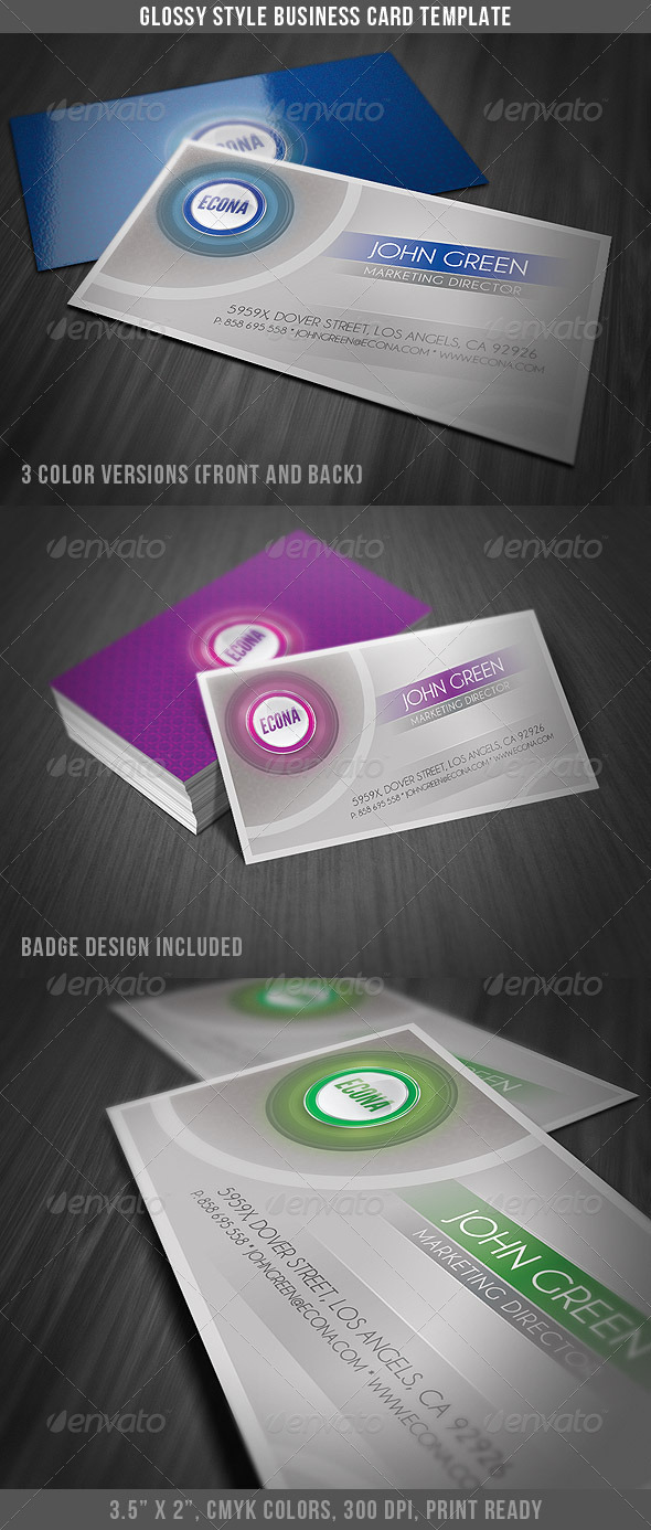 Glossy Style Business Card - Corporate Business Cards