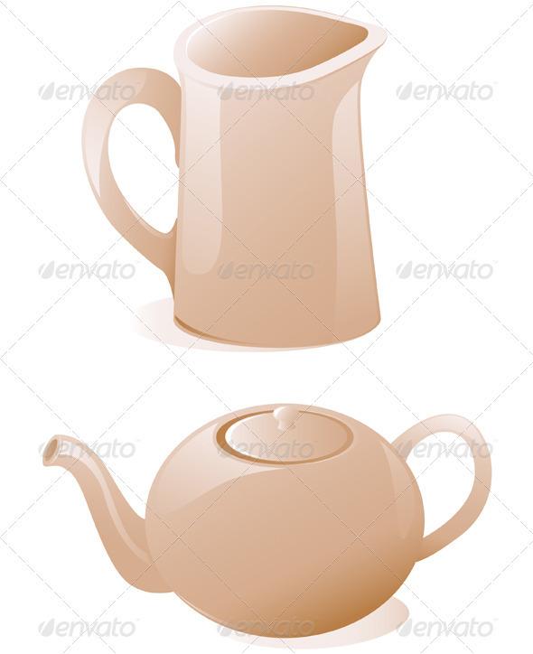 Teapot and Milk Jug  - Food Objects