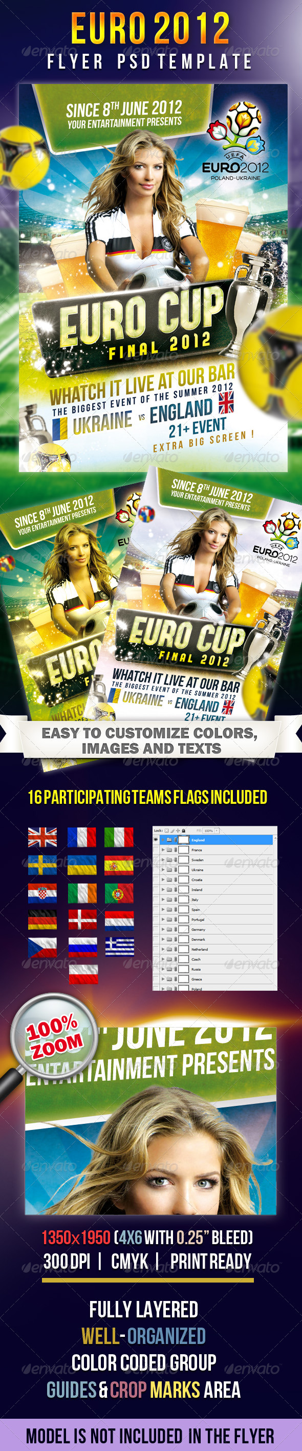EURO CUP 2012 - Flyer PSD Template - Flyers Print Templates