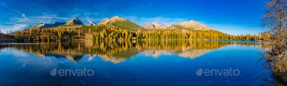 Mountain lake Strbske pleso in National Park High Tatra, Slovakia, Europe - Stock Photo - Images