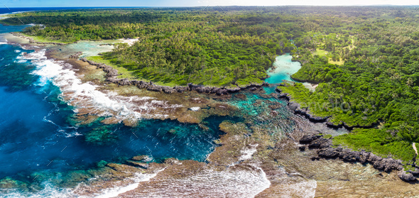 The Blue Lagoon from drone, Port Vila, Efate, Vanuatu - Stock Photo - Images