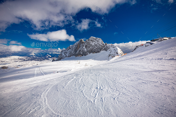 The snowy winter panorama of Dachstein Alps, Austria - Stock Photo - Images