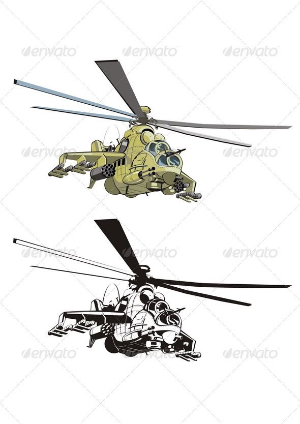 Cartoon Strike Helicopter - Characters Vectors