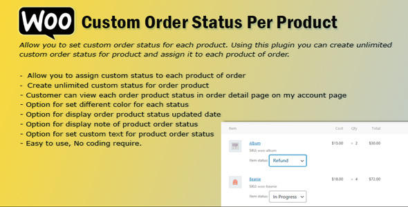 Download WooCommerce Order Status Per Product Free Nulled