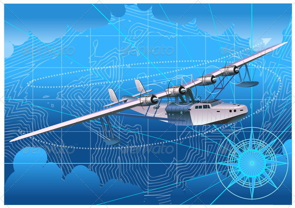 Retro Seaplane 30-s - Travel Conceptual