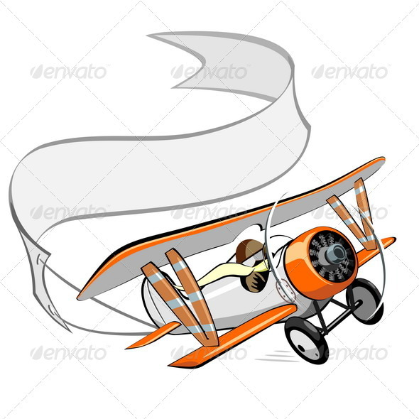 Cartoon Retro Biplane - Seasons/Holidays Conceptual