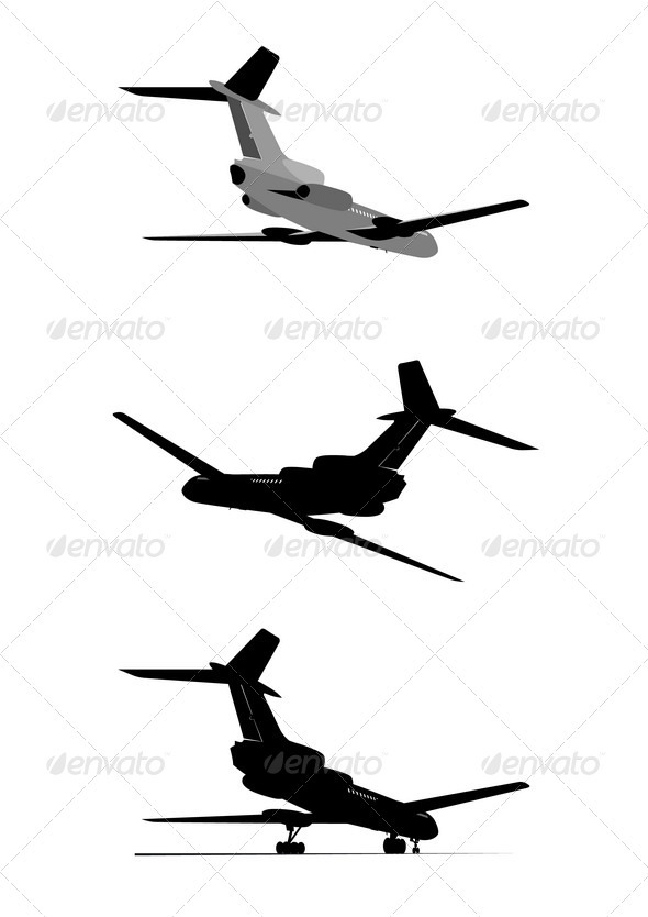 Silhouette of Passenger Jetliner Set - Man-made Objects Objects