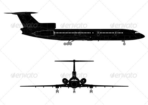 Hi-detail Silhouette of Jetliner - Man-made Objects Objects