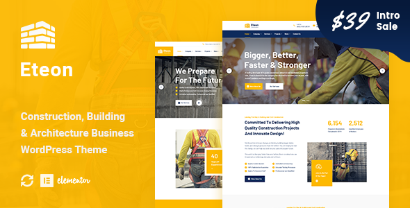 Download Eteon – Construction And Building WordPress Theme Free Nulled