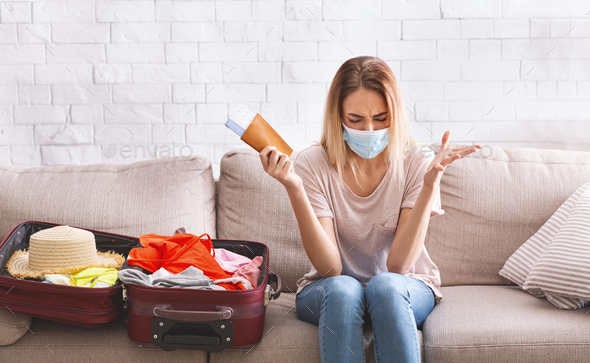Girl in rage due to cancellation of flights - Stock Photo - Images