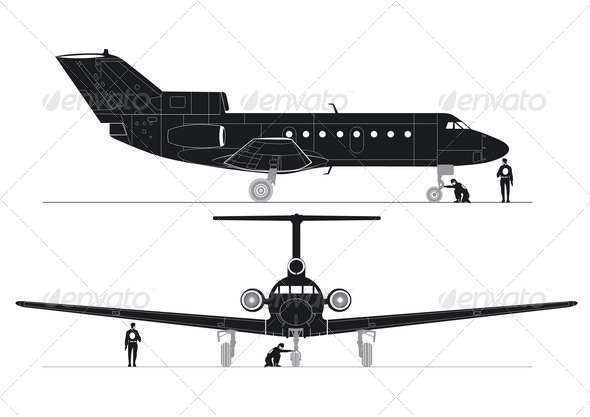 Business Jet Silhouettes - Man-made Objects Objects