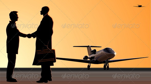 Handshake at Aerodrome - Business Conceptual