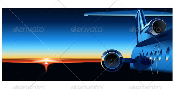 Airplane at Sunrise - Travel Conceptual