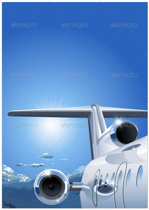 Airplane in the Sky - Travel Conceptual