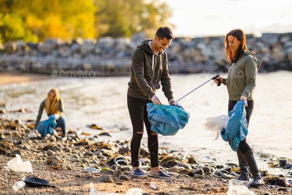Team of volunteers cleaning beach on sunny day - Stock Photo - Images
