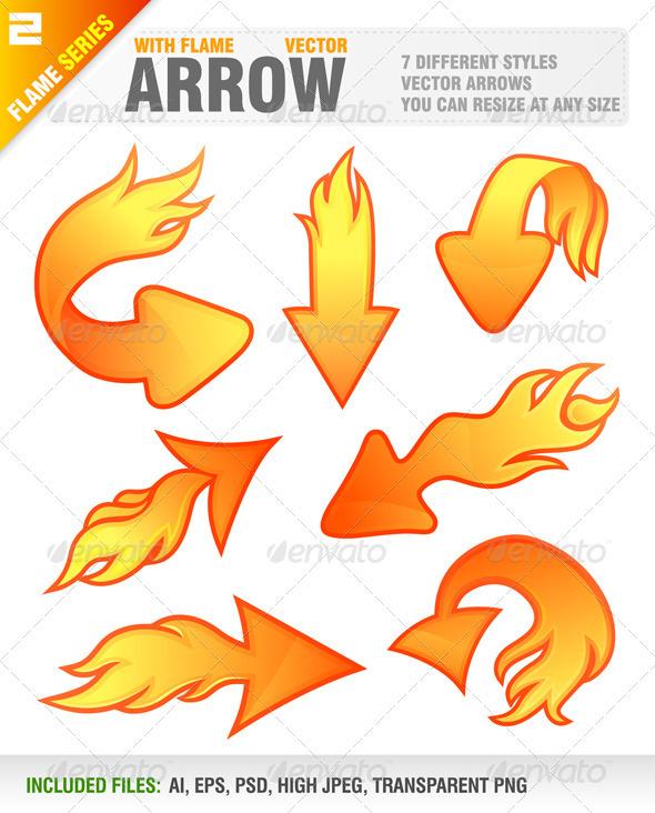 7 Arrows with flame - Web Elements Vectors