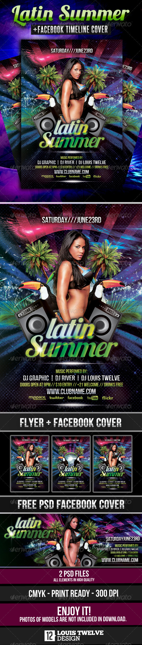 Latin Summer #2 Party Flyer + Facebook Cover - Clubs & Parties Events