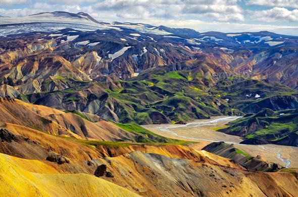Landscape view of Landmannalaugar colorful volcanic mountains, Iceland - Stock Photo - Images