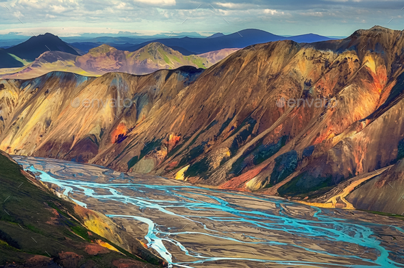 Landscape view of Landmannalaugar colorful volcanic mountains and river, Iceland - Stock Photo - Images