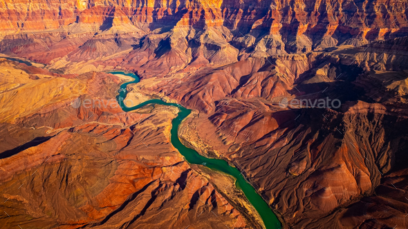 Panoramic landscape view of curved colorado river in Grand canyon, USA - Stock Photo - Images