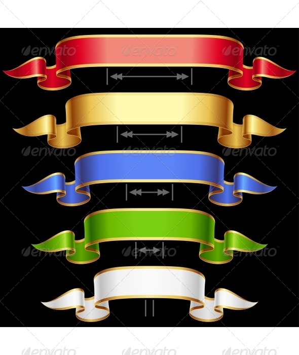 Ribbon set with adjusting length. Vector frame iso - Decorative Symbols Decorative