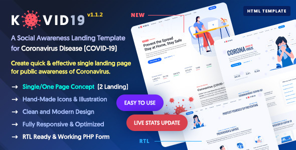 KOVID19 – Coronavirus (COVID-19) Prevention & Awareness HTML Template