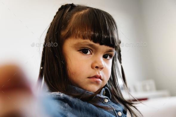 Portrait of beautiful sad girl. - Stock Photo - Images
