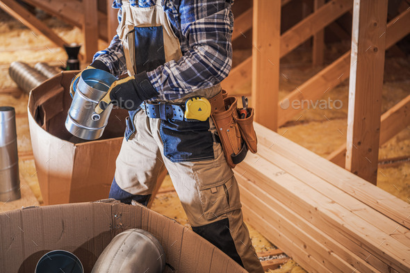 Air Ventilation Heating and Cooling Worker - Stock Photo - Images